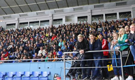 KYIV, UKRAINE - APRIL 20, 2018: Crowded tribunes of Palace of Sports in Kyiv during the IIHF 2018 Ice Hockey U18 World Championship Div 1B game Ukraine v Romania. Ukraine won 6-0 Editorial