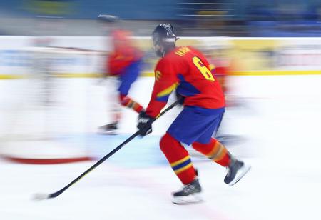 KYIV, UKRAINE - APRIL 20, 2018: Geza NAGY-GALACZI of Romania on ice during the IIHF 2018 Ice Hockey U18 World Championship Div 1B game against Ukraine at Palace of Sports. Ukraine won 6-0