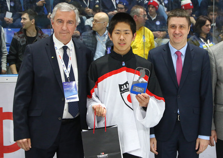 KYIV, UKRAINE - APRIL 20, 2018: Eiki SATO of Japan, the best goalie of the IIHF 2018 Ice Hockey U18 World Championship Div 1B at Palace of Sports in Kyiv. Japan won bronze medals, Ukraine won gold