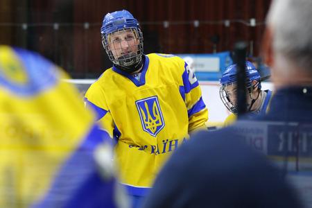 KYIV, UKRAINE - APRIL 20, 2018: Mykhailo VASYLYEV of Ukraine in action during the IIHF 2018 Ice Hockey U18 World Championship Div 1B game against Romania at Palace of Sports. Ukraine won 6-0
