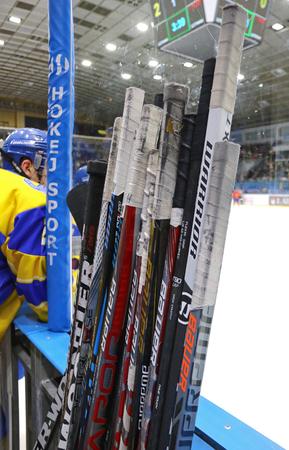 KYIV, UKRAINE - APRIL 20, 2018: Ice-hockey sticks senn during the IIHF 2018 Ice Hockey U18 World Championship Div 1B game Ukraine v Romania at Palace of Sports in Kyiv 에디토리얼