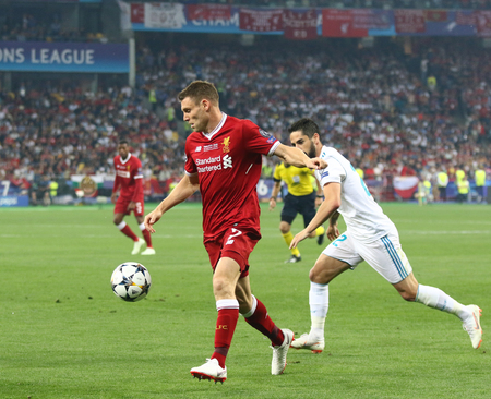 KYIV, UKRAINE - MAY 26, 2018: James Milner of Liverpool runs during the UEFA Champions League Final 2018 game against Real Madrid at NSC Olimpiyskiy Stadium in Kyiv. Liverpool lost 1-3