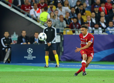 KYIV, UKRAINE - MAY 26, 2018: Trent Alexander-Arnold of Liverpool kicks a ball during the UEFA Champions League Final 2018 game against Real Madrid at NSC Olimpiyskiy Stadium in Kyiv