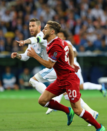 KYIV, UKRAINE - MAY 26, 2018: Adam Lallana of Liverpool runs during the UEFA Champions League Final 2018 game against Real Madrid at NSC Olimpiyskiy Stadium in Kyiv. Liverpool lost 1-3