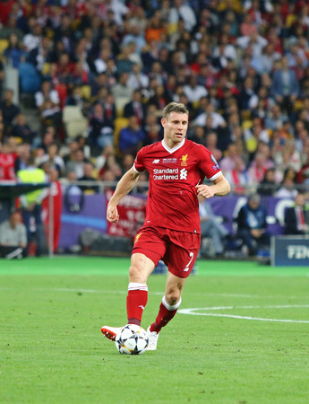 KYIV, UKRAINE - MAY 26, 2018: James Milner of Liverpool controls a ball during the UEFA Champions League Final 2018 game against Real Madrid at NSC Olimpiyskiy Stadium in Kyiv. Liverpool lost 1-3