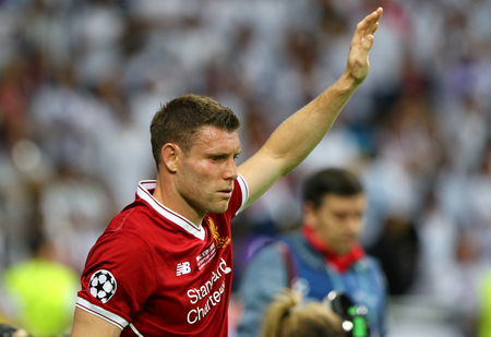 KYIV, UKRAINE - MAY 26, 2018: James Milner of Liverpool in action during the UEFA Champions League Final 2018 game against Real Madrid at NSC Olimpiyskiy Stadium in Kyiv. Liverpool lost 1-3 Editorial