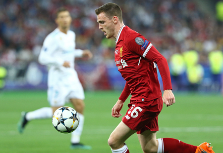 KYIV, UKRAINE - MAY 26, 2018: Andy Robertson of Liverpool in action during the UEFA Champions League Final 2018 game against Real Madrid at NSC Olimpiyskiy Stadium in Kyiv. Liverpool lost 1-3 Editorial