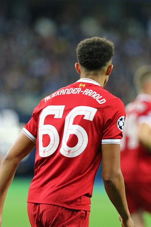 KYIV, UKRAINE - MAY 26, 2018: Trent Alexander-Arnold of Liverpool in actionl during the UEFA Champions League Final 2018 game against Real Madrid at NSC Olimpiyskiy Stadium in Kyiv