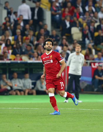 KYIV, UKRAINE - MAY 26, 2018: Mohamed Salah of Liverpool in action during the UEFA Champions League Final 2018 game against Real Madrid at NSC Olimpiyskiy Stadium in Kyiv. Liverpool lost 1-3