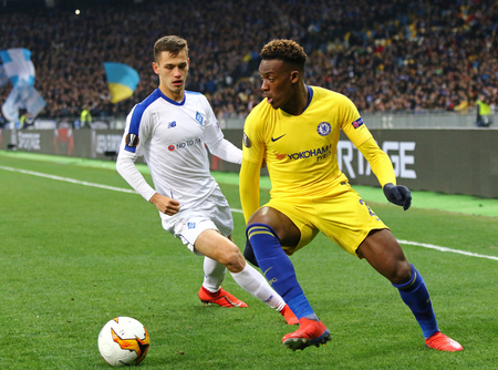 KYIV, UKRAINE - MARCH 14, 2019: UEFA Europa League game FC Dynamo Kyiv v Chelsea at NSC Olimpiyskyi stadium in Kyiv. Callum Hudson-Odoi of Chelsea (R) and Volodymyr Shepeliev of Dynamo Kyiv in action