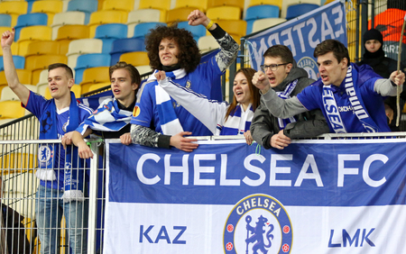 KYIV, UKRAINE - MARCH 14, 2019: Chelsea fans show their support during the UEFA Europa League game FC Dynamo Kyiv v Chelsea at NSC Olimpiyskyi stadium in Kyiv, Ukraine. Chelsea won 5-0 Editorial
