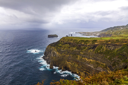 Atlantic Ocean coast of Sao Miguel Island, the largest island in the Portuguese archipelago of the Azores.