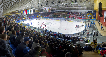 KYIV, UKRAINE - APRIL 22, 2017: Panoramic view of Palace of Sports Arena in Kyiv during the IIHF 2017 Ice Hockey World Championship Div 1 Group A game Ukraine v Hungary