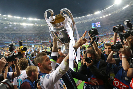 KYIV, UKRAINE - MAY 26, 2018: Sergio Ramos of Real Madrid celebrates the winning of the UEFA Champions League 2018 after the final game against Liverpool at NSC Olimpiyskiy Stadium in Kyiv, Ukraine