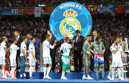 KYIV, UKRAINE - MAY 26, 2018: Medal Ceremony for Real Madrid team, Winners of the UEFA Champions League 2018 after the final game against Liverpool at NSC Olimpiyskiy Stadium in Kyiv Editorial