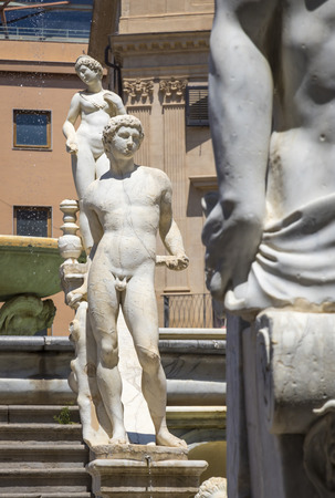 Palermo, Italy - May 10, 2018: Details of Praetorian Fountain (Italian: Fontana Pretoria) in Palermo, Sicily. Built by Francesco Camilliani in 1554 in Florence, transferred to Palermo in 1574