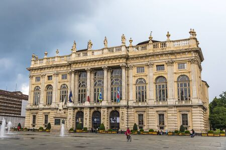 Turin, Italy - June 14, 2018: Royal Palace (Palazzo Madama e Casaforte degli Acaja) in Turin, Italy. Added to UNESCO World Heritage Sites list as a part of The Residences of the Royal House of Savoy Banco de Imagens - 127627801