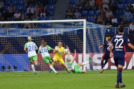 KYIV, UKRAINE - MAY 24, 2018: Amandine Henry of Olympique Lyonnais (No.26, Right) scores a goal during the UEFA Women's Champions League Final 2018 game against VFL Wolfsburg at Lobanovskiy Stadium