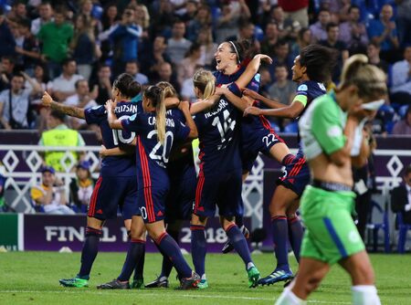 KYIV, UKRAINE - MAY 24, 2018: Olympique Lyonnais players react after scored goal during the UEFA Women's Champions League Final 2018 game against VFL Wolfsburg in Kyiv. Olympique Lyonnais won 4-1