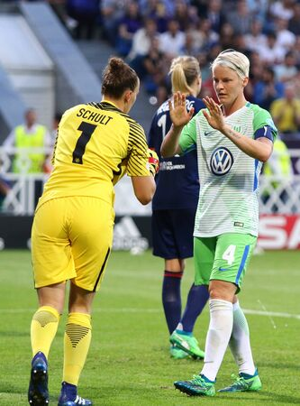 KYIV, UKRAINE - MAY 24, 2018: Portrait of goalkeeper Almuth Schult and player Nilla Fischer of VFL Wolfsburg during the UEFA Women's Champions League Final 2018 game against Olympique Lyonnais in Kyiv 新闻类图片