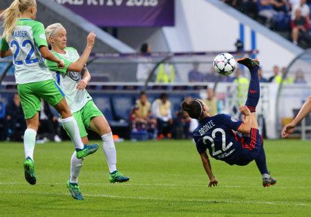 KYIV, UKRAINE - MAY 24, 2018: Lucy Bronze of Olympique Lyonnais (R) kicks a ball during the UEFA Women's Champions League Final 2018 game against VFL Wolfsburg at V.Lobanovskiy Stadium in Kyiv