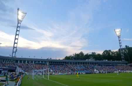 KYIV, UKRAINE - MAY 24, 2018: Panoramic view of Lobanovskiy Stadium in Kyiv during the UEFA Women's Champions League Final 2018 game Olympique Lyonnais v Wolfsburg