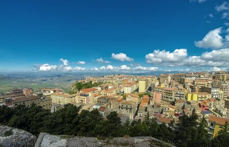 Aerial view of Enna old town, Sicily, Italy. 스톡 콘텐츠