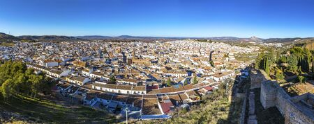 Panoramic aeria skylinel view of Antequera city, province of Malaga, Andalusia, Spain. 스톡 콘텐츠