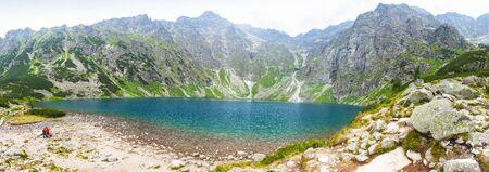 Picturesque panoramic view of Czarny Staw pod Rysami lake (Black Lake below Mount Rysy) in Tatra Mountains, Poland.
