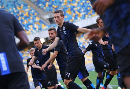 KYIV, UKRAINE - August 13, 2019: Hans Vanaken of Club Brugge in action during the training session before the UEFA Champions League 3rd qualifying round game against FC Dynamo Kyiv