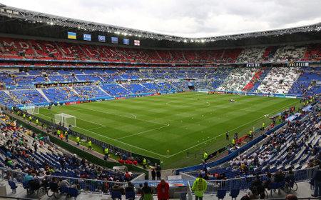 LYON, FRANCE - JUNE 16, 2016: Panoramic view of Stade de Lyon stadium (Parc Olympique Lyonnais stadium) before the UEFA EURO 2016 game Ukraine v Northern Ireland