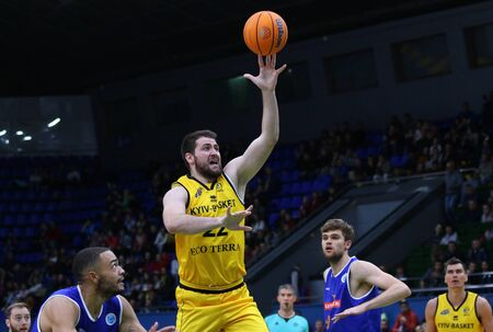 KYIV, UKRAINE - SEPTEMBER 20, 2019: Viacheslav Petrov of BC Kyiv Basket attacks during the FIBA Basketball Champions League Qualifiers game BC Kyiv Basket v Kapfenberg Bulls. BC Kyiv Basket won 73-63