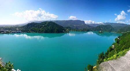 Panoramic aerial view of Bled Lake, Julian Alps, Slovenia.