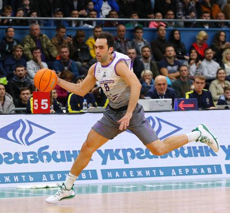 KYIV, UKRAINE - SEPTEMBER 26, 2019: Vitor Benite of San Pablo Burgos controls a ball during the FIBA Basketball Champions League Qualifiers game BC Kyiv Basket v San Pablo Burgos. Burgos won 86-83