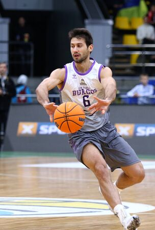KYIV, UKRAINE - SEPTEMBER 26,2019: Bruno Fitipaldo of San Pablo Burgos in action during the FIBA Basketball Champions League Qualifiers game BC Kyiv Basket v San Pablo Burgos in Kyiv. Burgos won 86-83 Редакционное