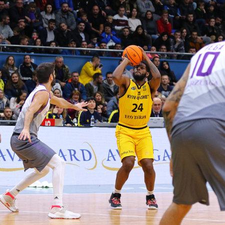 KYIV, UKRAINE - SEPTEMBER 26, 2019: Aundre Jackson of BC Kyiv Basket throws the ball into basket during the FIBA Basketball Champions League Qualifiers game BC Kyiv Basket v San Pablo Burgos in Kyiv