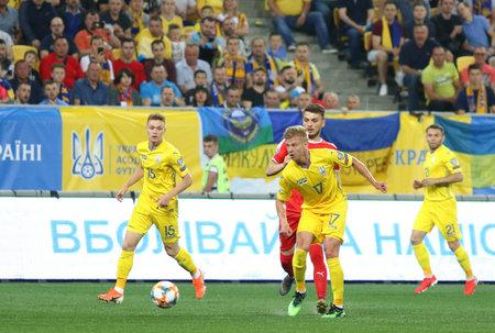 LVIV, UKRAINE - JUNE 7, 2019: Oleksandr Zinchenko of Ukraine attacks during the UEFA EURO 2020 Qualifying game against Serbia at Arena Lviv stadium in Lviv. Ukraine won 5-0