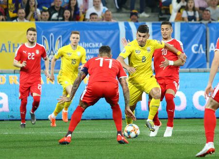 LVIV, UKRAINE - JUNE 7, 2019: Ruslan Malinovskiy of Ukraine attacks during the UEFA EURO 2020 Qualifying game against Serbia at Arena Lviv stadium in Lviv. Ukraine won 5-0