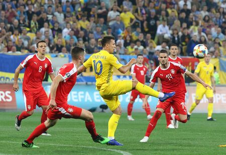 LVIV, UKRAINE - JUNE 7, 2019: Yevhen Konoplyanka of Ukraine (Yellow) in action during the UEFA EURO 2020 Qualifying game against Serbia at Arena Lviv stadium. Ukraine won 5-0. Konoplyanka scored twice