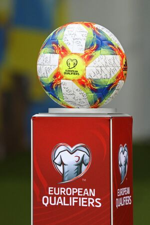 LVIV, UKRAINE - JUNE 7, 2019: Official UEFA EURO 2020 Qualifiers matchball Adidas Conext19 on the pedestal seen during the UEFA EURO 2020 Qualifying game Ukraine v Serbia at Arena Lviv stadium