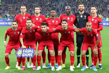Kyiv, Ukraine - October 14, 2019: Players of Portugal National Team pose for a group photo before the UEFA EURO 2020 Qualifying game Ukraine v Portugal at NSK Olimpiyskyi stadium in Kyiv, Ukraine