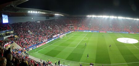 PRAGUE, CZECHIA - OCTOBER 23, 2019: Panoramic view of Eden Arena in Prague during the UEFA Champions League game Slavia Praha v Barcelona. Also known as Sinobo Stadium. Capacity 19370 people