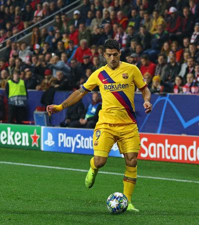 PRAGUE, CZECHIA - OCTOBER 23, 2019: Luis Suarez of Barcelona controls a ball during the UEFA Champions League game against Slavia Praha at Eden Arena in Prague, Czech Republic. Barcelona won 2-1