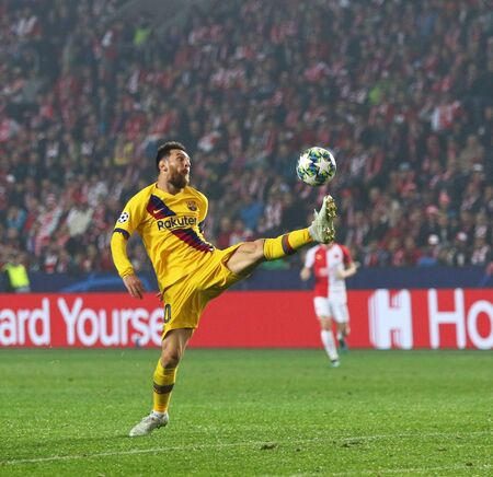 PRAGUE, CZECHIA - OCTOBER 23, 2019: Lionel Messi of Barcelona controls a ball during the UEFA Champions League game against Slavia Praha at Eden Arena in Prague. Messi scored. Barcelona won 2-1