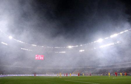Kiew, Ukraine - 14. Oktober 2019: Panoramablick auf das NSK Olimpiyskyi Stadion in Kiew während des UEFA EURO 2020 Qualifikationsspiels Ukraine gegen Portugal. Das Stadion war Austragungsort der UEFA Euro 2012, die Kapazität beträgt 70050