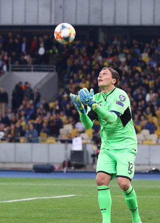 Kyiv, Ukraine - October 14, 2019: Goalkeeper Andriy Pyatov of Ukraine in action during the UEFA EURO 2020 Qualifying game Ukraine v Portugal at NSK Olimpiyskyi stadium in Kyiv. Ukraine won 2-1