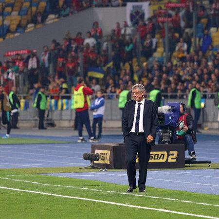 Kyiv, Ukraine - October 14, 2019: Portuguese manager Fernando Santos in action during the UEFA EURO 2020 Qualifying game Ukraine v Portugal at NSK Olimpiyskyi stadium. Ukraine won 2-1