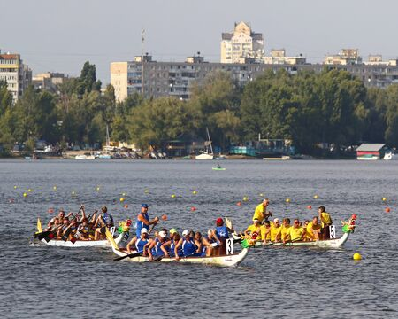 Kyiv, Ukraine - September 13, 2019: ICF Dragon Boat Club Crew World Championships 2019 on Dnipro river in Kyiv, Ukraine. D10 Master 50+ Mixed 2000m Final