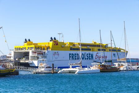 Morro Jable, Spain - December 9, 2018: Fred Olsen ferry in the Port of Morro Jable on Fuerteventura island, Canaries, Spain. Fred Olsen Express is an inter-island ferry service based in Canary Islands Editorial