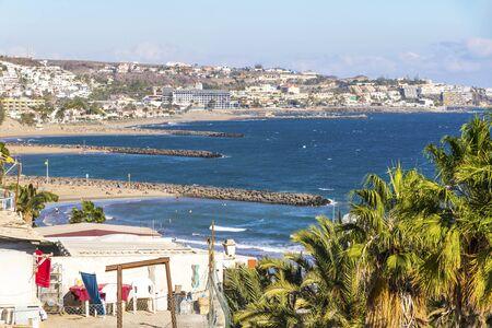 Maspalomas Beach (Playa de Maspalomas) on the south part of Gran Canaria island, Canary Islands, Spain.
